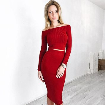 Winter Women's Fashion Hot Sale Long Sleeve Bottom & Top Set [11873381007]
