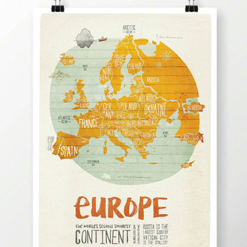 Original EUROPE Wall Art Printing Poster Illustration Print Drawings Graphic Design Art Work Home Decor