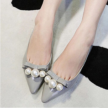 2016 new fashion Women shoes leather shoes bow pearl flat toe head Women shoes Women flats Large size 31-43
