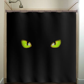 green eyes cat shower curtain bathroom decor fabric kids bath white black custom duvet cover rug mat window