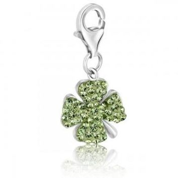 ac NOVQ2A Sterling Silver Four Leaf Clover Green Tone Crystal Accented Charm