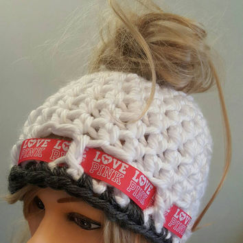 Crochet Pink bun hat. Made by Bead Gs on ETSY.  Ladies Size.