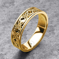 Gold Celtic Band, Mens Celtic Ring, Celtic Wedding Band, Womans Ornate Celtic Norse Ring, Viking Ring, Warrior Ring Band, 14k Yellow Gold