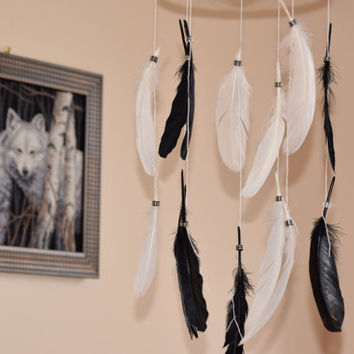 Feather Decor, Dream catcher mobile,Black and White Feather Mobile, Nursery Mobile, Boho Dreamcatcher Mobile.