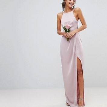 ASOS TALL WEDDING Drape Front Strappy Back Maxi Dress at asos.com