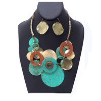Vintage Rustic Hammered Metal Disc Necklace Set