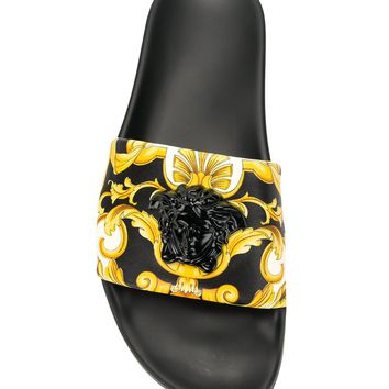 Signature Print Black Medusa Slides by Versace