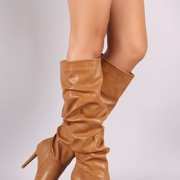 Anne Michelle Slouchy Pointy Toe Knee High Stiletto Boots