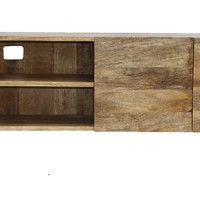 Industrial Style Tv Stand With Storage Cabinet, Natural Wood Finish By The Urban Port
