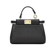 Fendi Micro Peekaboo Black Leather Handbag Made In Italy