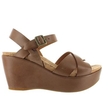Kork-Ease Ava 2.0 - Golden Sand Leather Crisscross Platform/Wedge Footbed Sandal