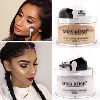 Miss Rose Brand 2 in 1 highlighter Makeup Contour Palette Make Up Eye Loose Powder Glitter Gold Eyeshadow Makeup Palette