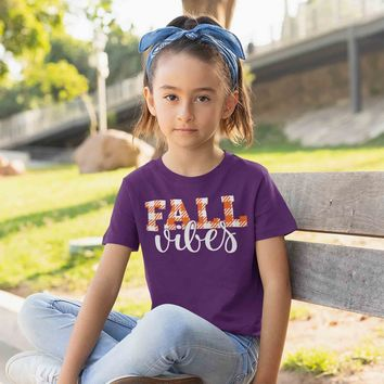 Kids Fall Vibes T Shirt Fall Shirts Fall Vibes Shirt Plaid Festive Fall Shirt Cute Shirt For Fall Fall Shirt Girls Boys