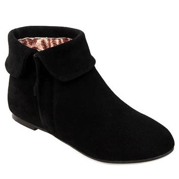 Low Heel Boots With Suede and Zipper Design