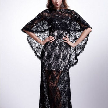 AB7034 Black Lace Evening Gown Dress with Removable Lace Cape