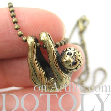 Sloth Baby Animal Pendant Necklace Realistic and Cute in Brass