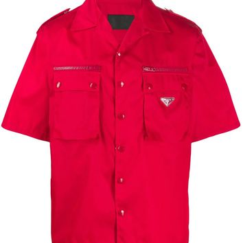 Red Short Sleeve Zip Button-Up Shirt by Prada