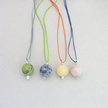 Gemstone necklace, Rough ball stone charm, minimalist stone necklace, Summertime colors, everyday jewelry