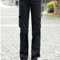 Multi-pocket trousers overalls female Spring 2015 new women's casual pants loose straight jeans sub Sports & Outdoors hiking