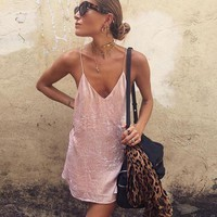 Spaghetti Strap Velvet One Piece Dress