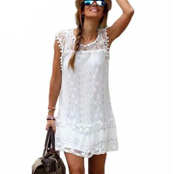 Summer Sexy Women Tunic Casual Sleeveless Beach Short Dress vestidos ladies girls Tassel Solid White Mini Lace Dress Plus Size