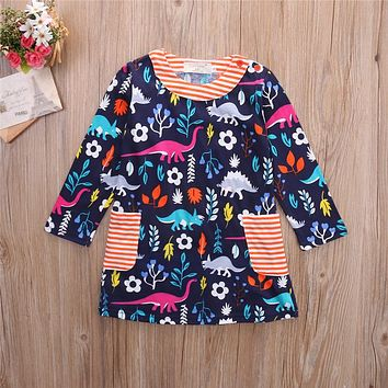 autumn Girl Kids Children Dress Toddler spring Baby Girl Dresses Princess Party Child Clothes Poppy Floral Clothing