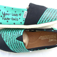 The Hailey - Teal and Black Custom TOMS