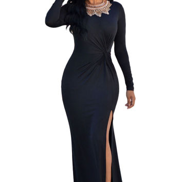 Black Long Sleeve Solid Dress Elegant Long Dress Party Evening Floor Length Long Sleeve Maxi Dress SM6