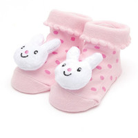 Pink Baby Sock with White 3D Bunny for Infant  / Baby Girls, Non-Skid