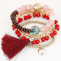 Bohemian Multilayer Gold Crystal Beads Tassel Heart Charm Bracelets