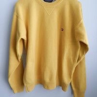 Vintage Tommy Hilfiger Cotton Sweater, Nautical Yellow, Size XL
