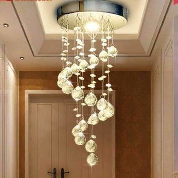 AC100V-240V Modern LED Spiral Crystal Chandelier Lighting for Foyer Stair Staircase Bedroom Ceiling Hanging Suspension Lamp