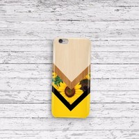 sunflower chevron wood iPhone 5 5c 6 6plus and Samsung Galaxy S5 Case