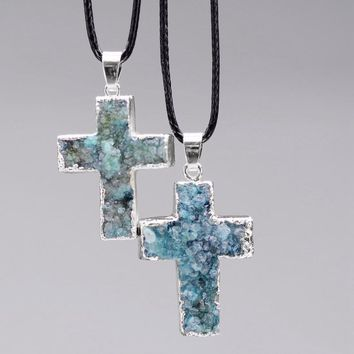 Turquoise Faux Druzzy Cross Necklace