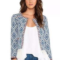 Blue Geometric Print Long-Sleeve Fringed Cardigan