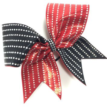 2 color mystique bow with straight lines of rhinestones