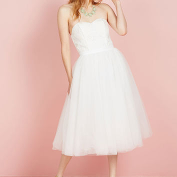 A Love Above the Rest Fit and Flare Dress in White | Mod Retro Vintage Dresses | ModCloth.com