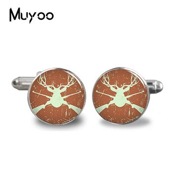 2017 New Fashion Cufflinks Men Cuff Round Deer Cufflink Deer Hunting Art Cuffs Animal Accessory Gift C-0011