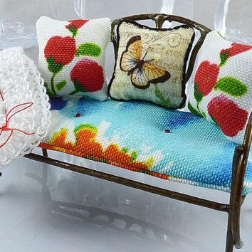 Miniature 1:12 Scale Red Orange Blue Green White Dollhouse or Fairy Bench, Cushion with Matching Decorator Pillows, and Crocheted Afghan
