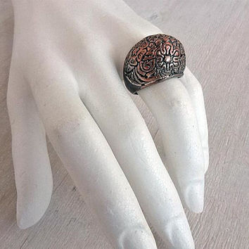 Dome ring Vintage statement ring Metal abstract jewelry Womens accessory Gorgeous floral pattern Sculptural ring Found object art Gift idea