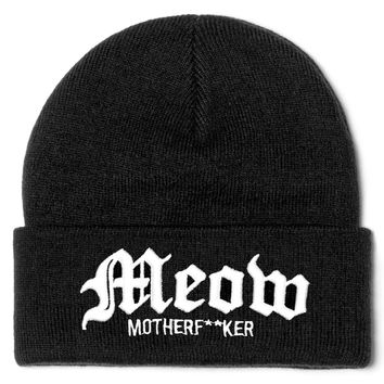 """Meow"" Beanie by Killstar (Black)"