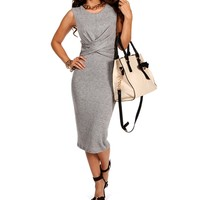 Gray Wrap Front Midi Dress