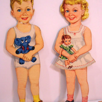 Vintage Paper Doll Set Boy and Girl Paper Dolls with Clothes from the 1940s