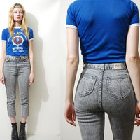 80s Vintage ACID WASH Jeans Grey Stretch Denim HIGHWAISTED Cropped Legs Capri Tight Skinny-Leg Fitted Pants vtg 1980s xxs xs