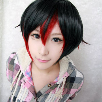 Classical Male Black Red Color Mixed Rwby Ruby Rose Red 35cm Short Cosplay Wig,Colorful Candy Colored synthetic Hair Extension Hair piece 1pcs WIG-011A