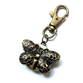 butterfly pocket watch keychain or bag charm