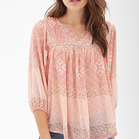 LOVE 21 Pintucked Tribal Print Top Pink/Tan