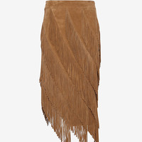 Exclusive for Intermix Goat Suede Layered Fringe Skirt at INTERMIX | Shop Now | Shop IntermixOnline.com