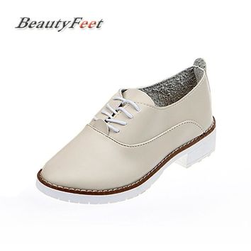 BeautyFeet Women Shoes Woman Flats Lace up Leather Casual Shoes Female Spring Oxford Platform Shoes For Women Sapato Feminino