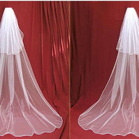 Hot Sale new 2t white or Ivory Wedding Bridal veil Cathedral Length with comb